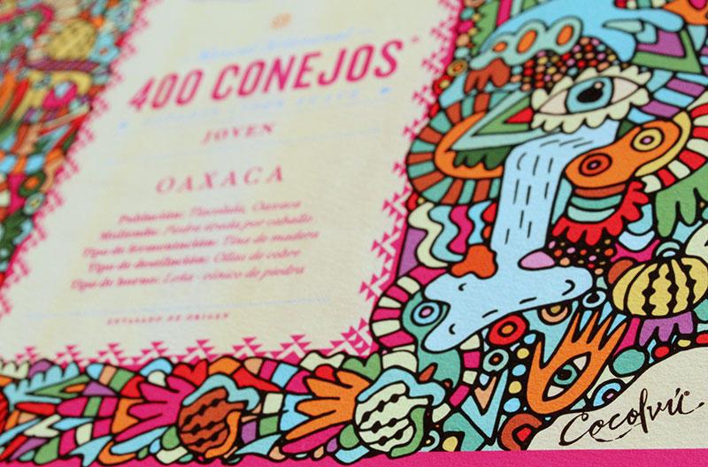 Arte y misticismo en la botella de 400 Conejos por Cocolvú