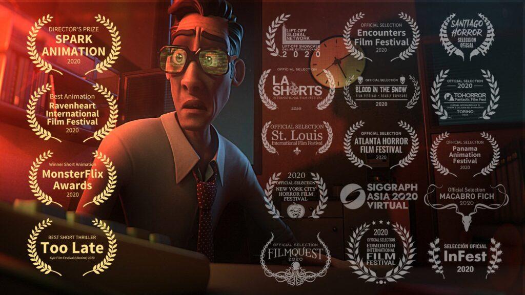 Con varias nominaciones en diferentes festivales al mejor cortometraje animado, Too late, retrata la crudeza del exceso de trabajo a través de un  oficinista del turno nocturno que comienza a tener alucinaciones conforme pasan las horas.